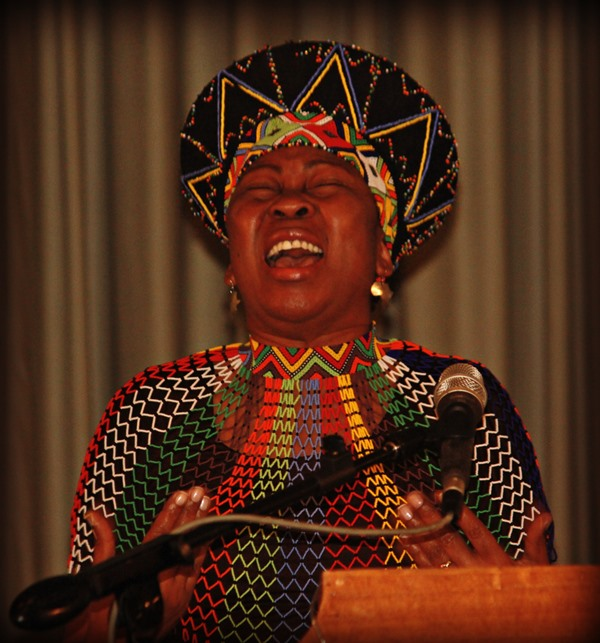 Dr Gcina Mhlophe recites a powerful poem
