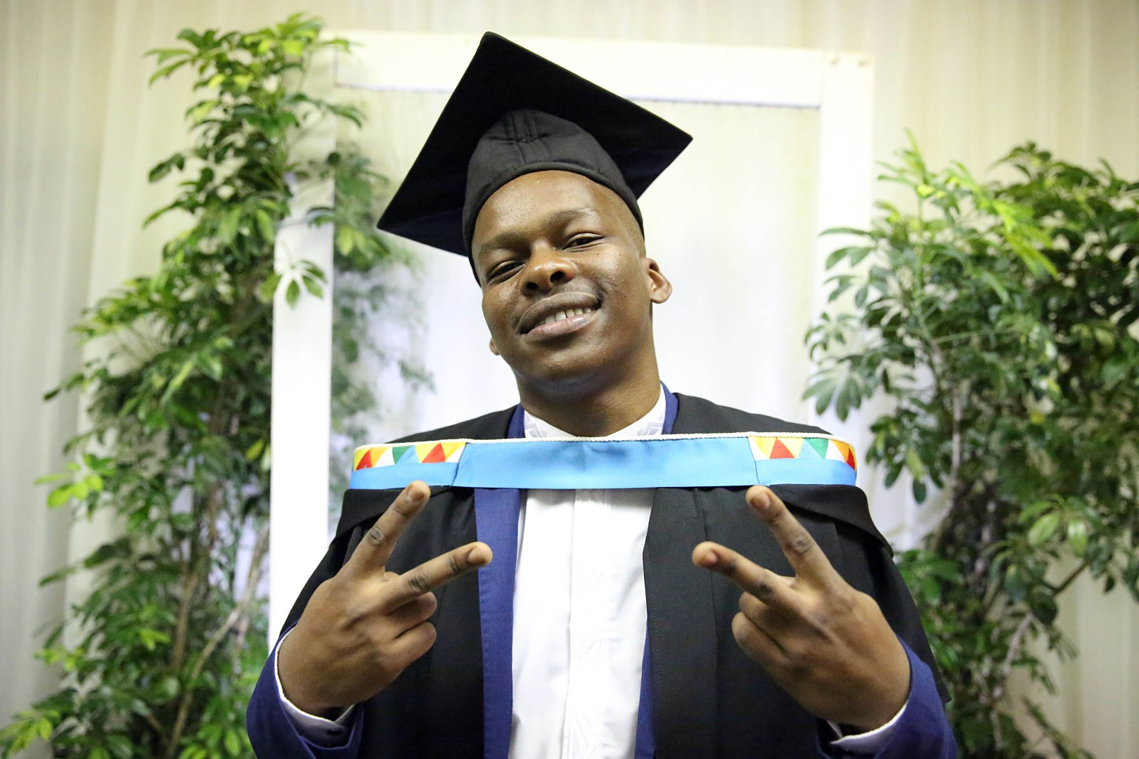 Mr Melikhaya Noqamza graduated with his Bachelor of Visual Arts (Honours) from UKZN