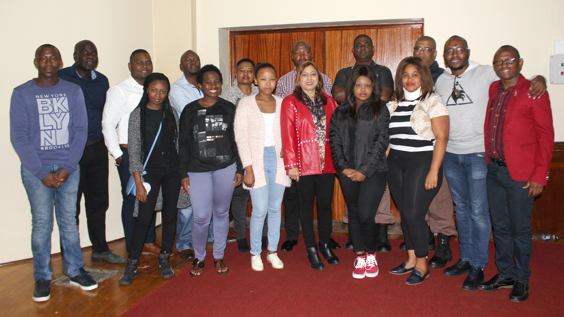 UKZN staff and students seen with DCS representatives during an orientation session.