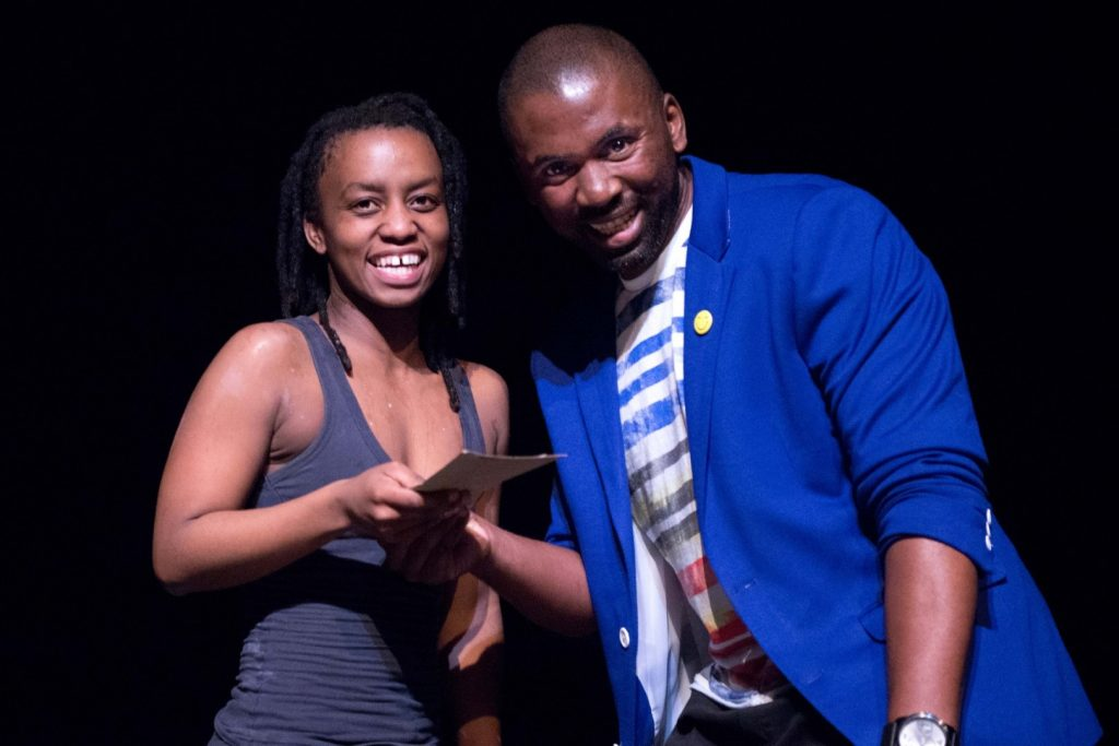 Thulisile Binda (Vuyani Dance Company) receives the Pick of the Fringe award for her work Ithemba at this year's Jomba2018 fringe