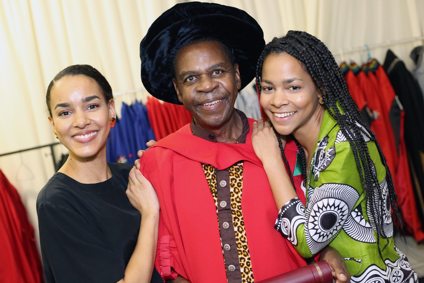 Honorary graduate, Dr Protas Madlala with his daughters Racquel (left) and Darienne.