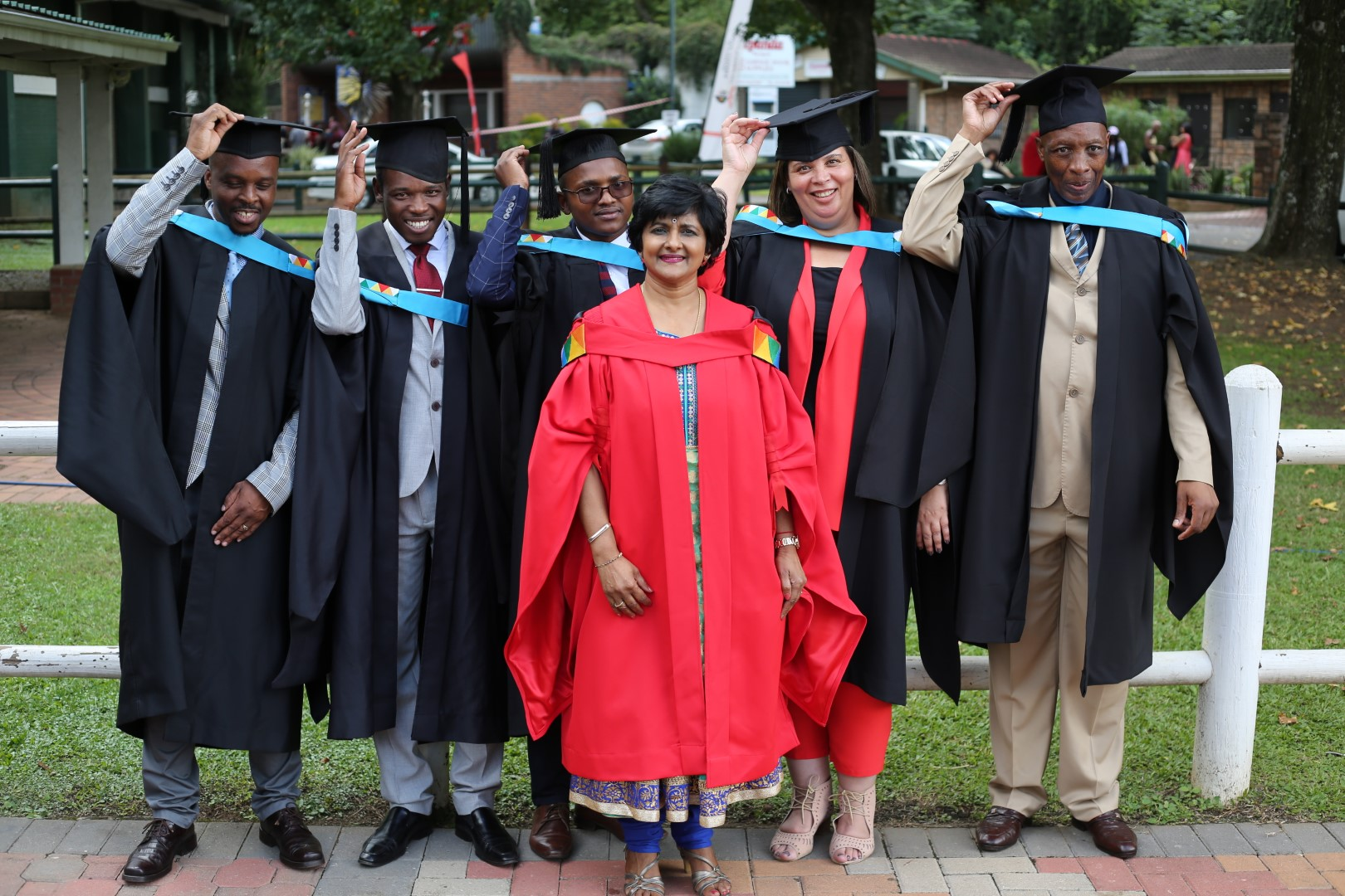 Master of Education Graduates seen with their supervisor Dr Jaqueline Naidoo