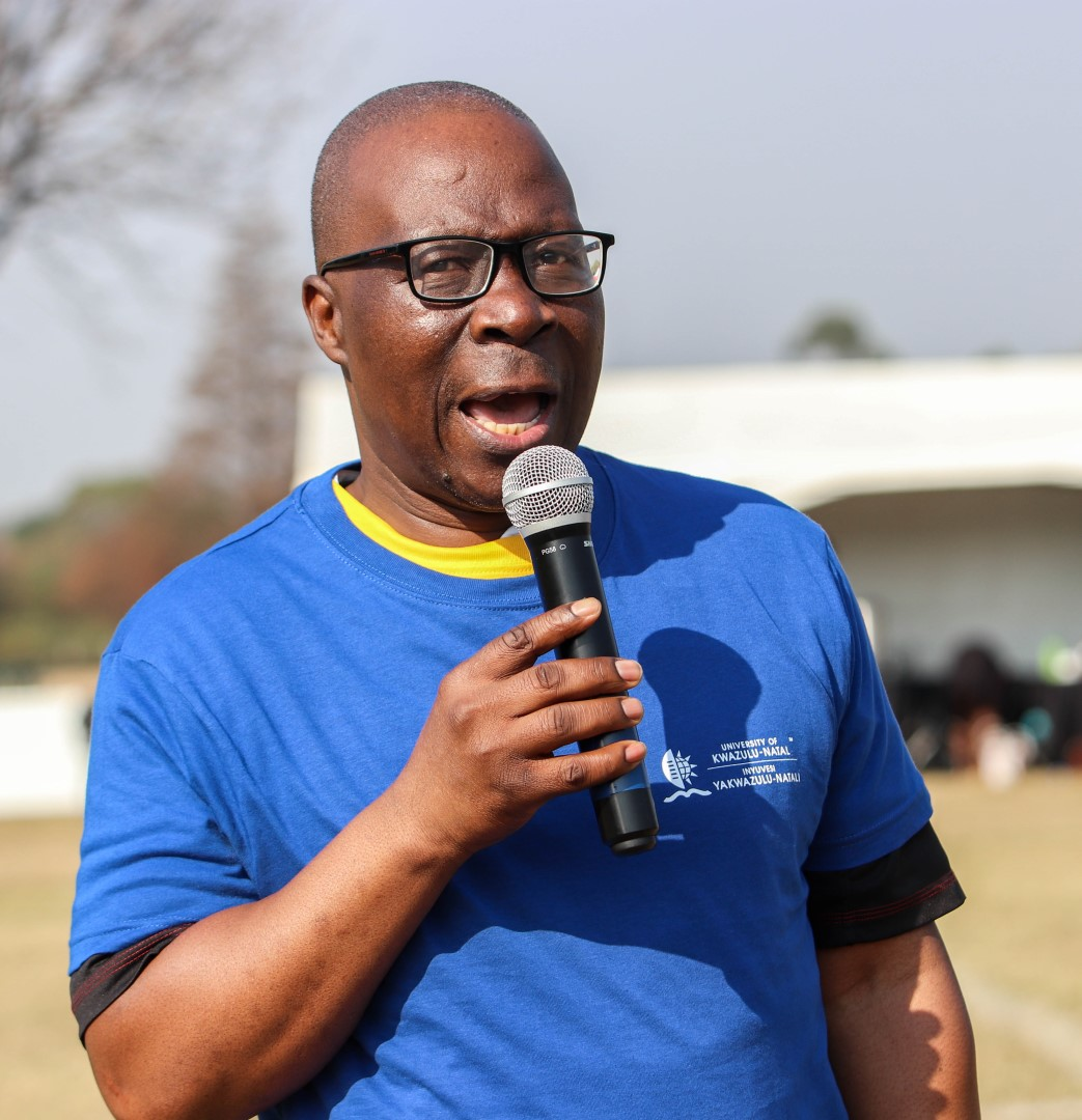College DVC Prof Nhlanhla Mkhize speaks at the opening of Sports Day