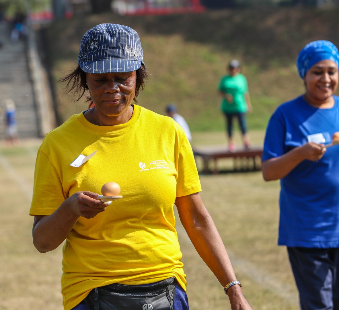 Dr Lolie Makhubu Badenhorst competes in Egg and Spoon Race