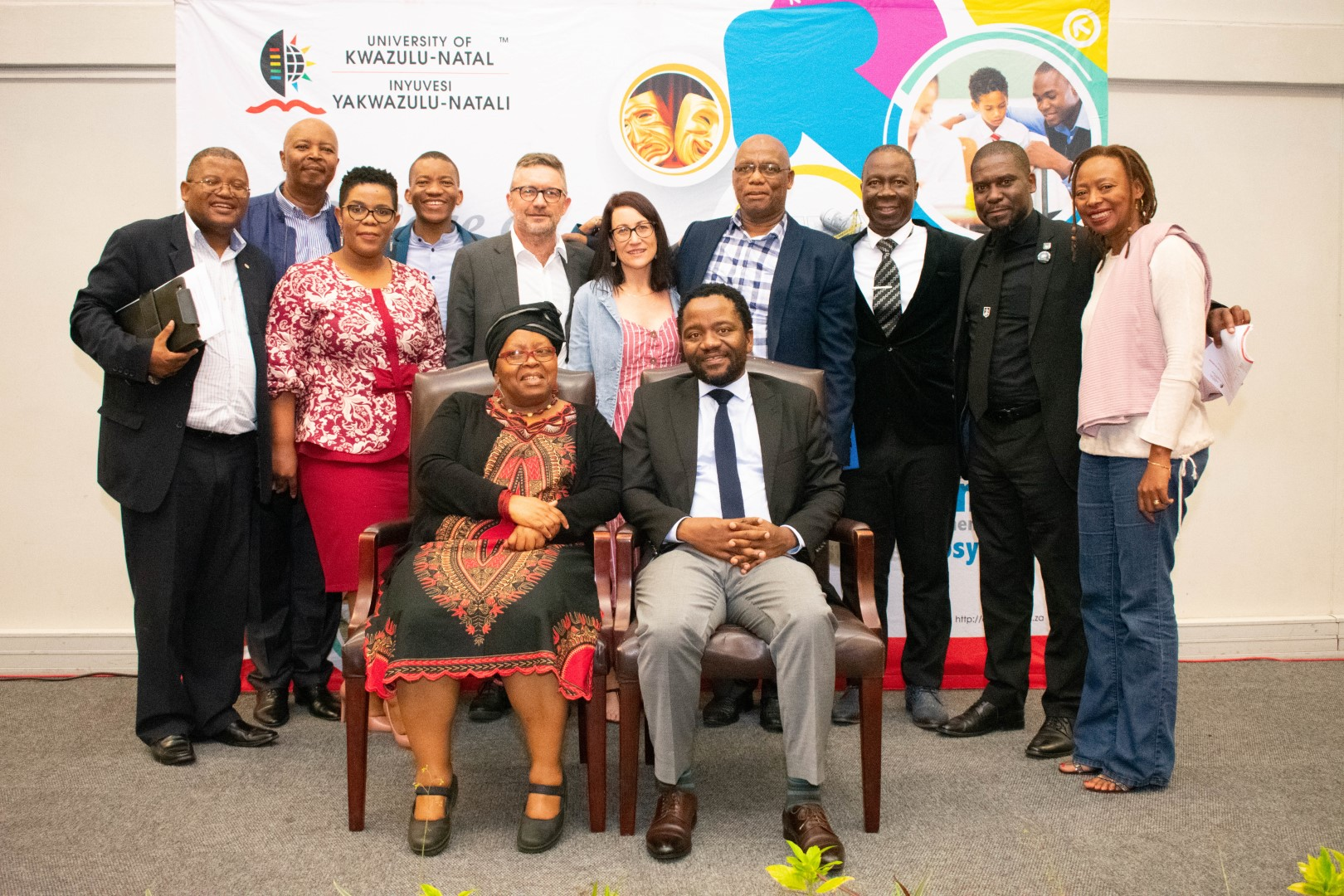 Dr Bongani Ngqulunga (seated right) seen with UKZN staffers at the John Dube Memorial Lecture on the Edgewood campus