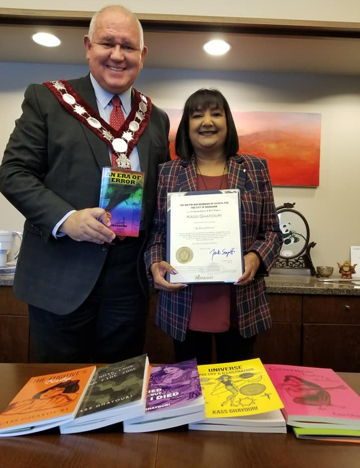 Mayor of Markham in Canada Mr Frank Scarpitti with award winning writer, UKZN alumnus Ms Kass Ghayouri.